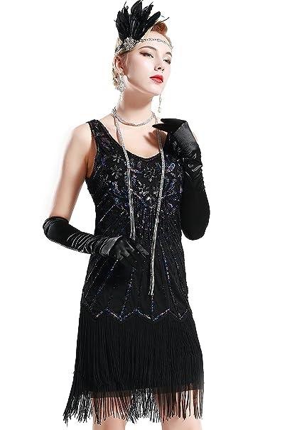 ArtiDeco Años 20 Estilo Vintaje Vestido con Cuello en V Gatsby Disfraz Vestido con Flecos de Lentejuelas