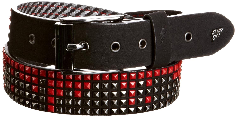 Lowlife Shrink Leather Belt Large Black Gunmetal Red