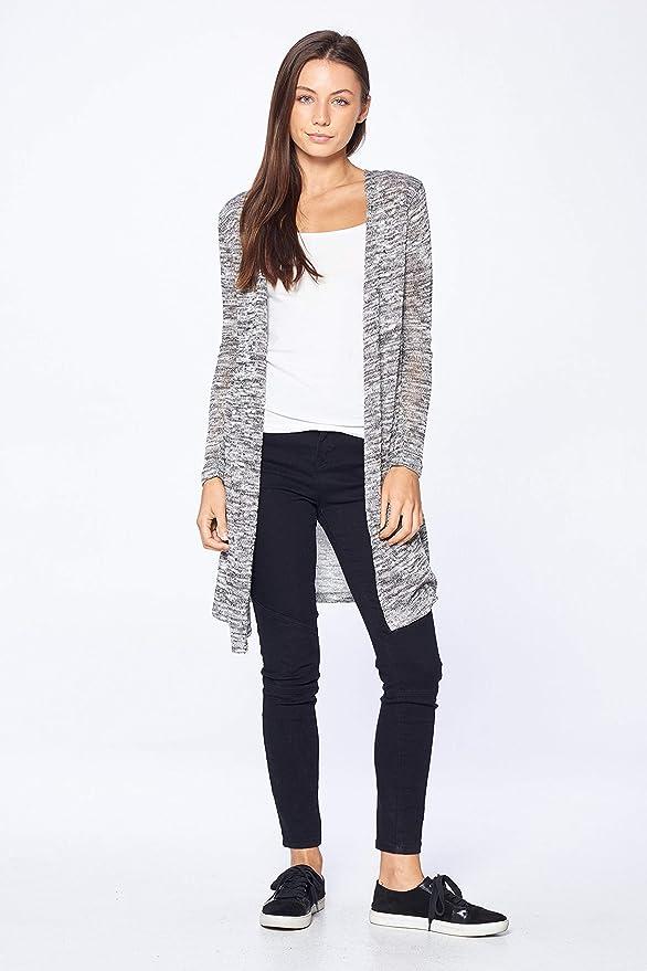 e0cc654bf5 Khanomak Women s Long Sleeve Side Slit Knit Long Line Maxi Duster Cardigan  at Amazon Women s Clothing store