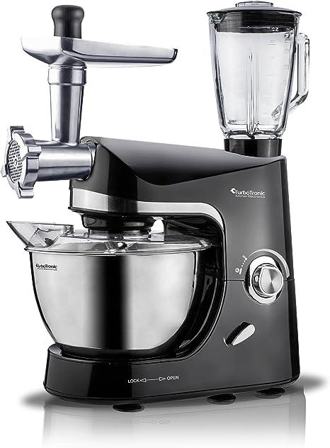 2000 W turbot Electronic Robot de cocina promixplus Incluye picadora de carne, batidora (1,5 L, recipiente de cristal, cuenco), 5 litros de acero inoxidable Negro: Amazon.es: Hogar