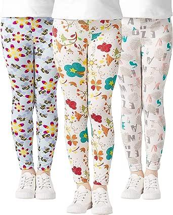 Adorel Leggings Estampado Pantalón Stretch para Niña 3 Pack