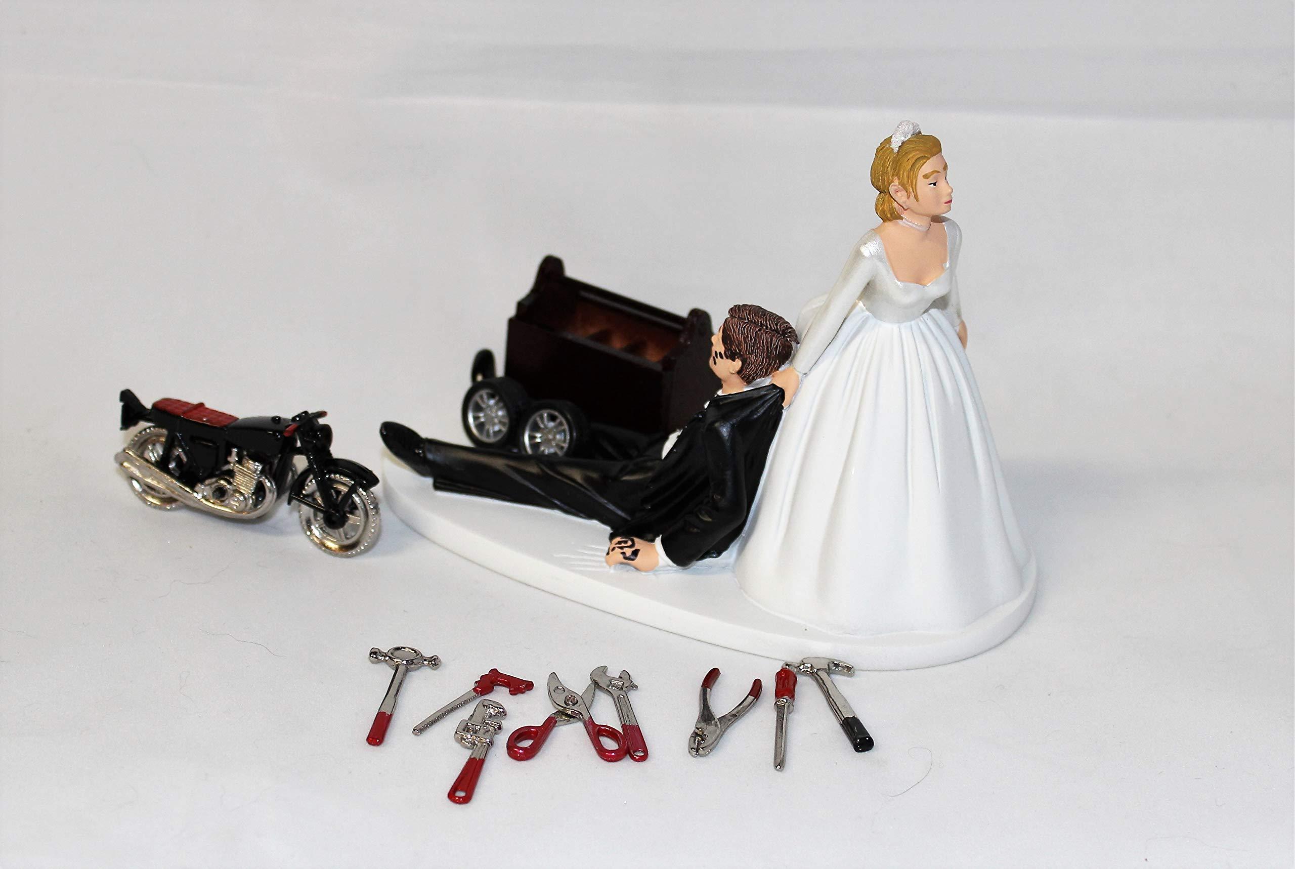 Wedding Motorcycle Biker Garage Mechanic grease Cake Topper by Custom Design Wedding Supplies by Suzanne (Image #3)