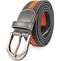 Braided Stretch Elastic Web Belt Prong Black/Nickel Buckle Loop Tip Men/Women/Junior