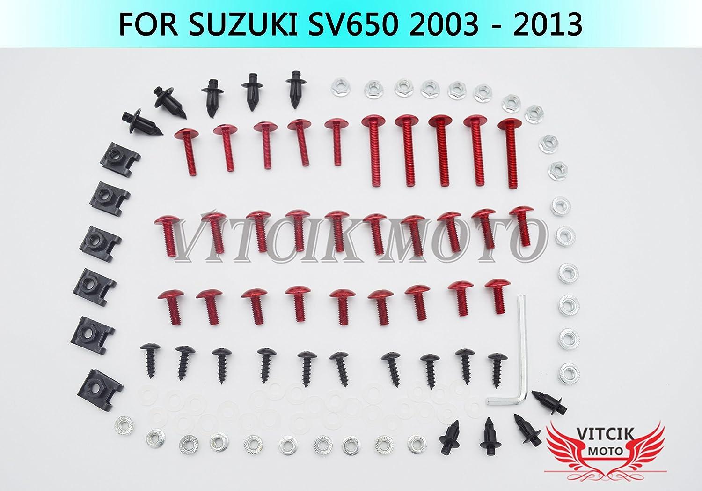 VITCIK Kits de boulons pour moto Suzuki SV650 2003 - 2013 SV 650 03 04 05 06 07 08 09 10 11 12 13 attaches aluminium CNC (Noir & Argent)