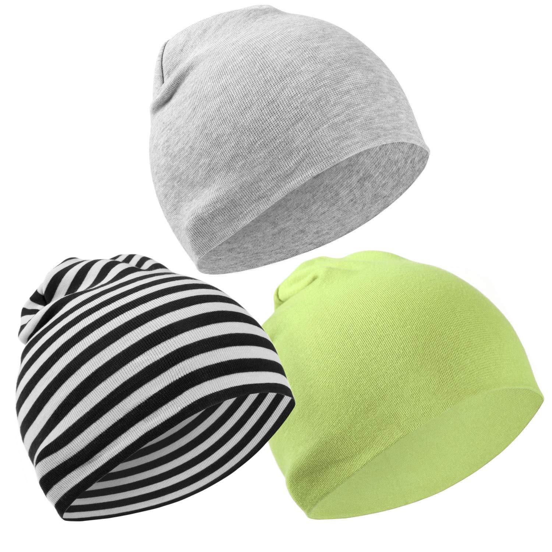 Hifot 3 Paquet Bonnet bébé Bonnet Printemps Automne Hiver Toddler Boys Girls Casquette 100% Coton Chapeaux Mous Double Couche Âgé de 6 Mois à 3 Ans