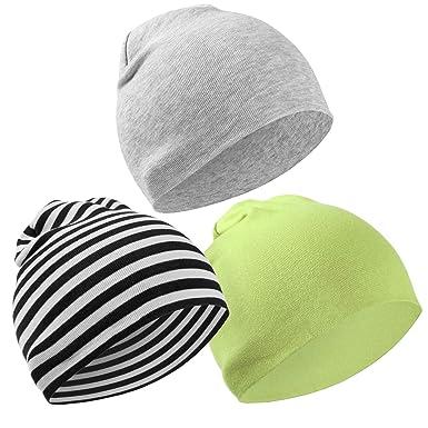 Hifot 3 Paquet Bonnet bébé Bonnet Printemps Automne Hiver Toddler Boys  Girls Casquette 100% Coton 2f432b4334b