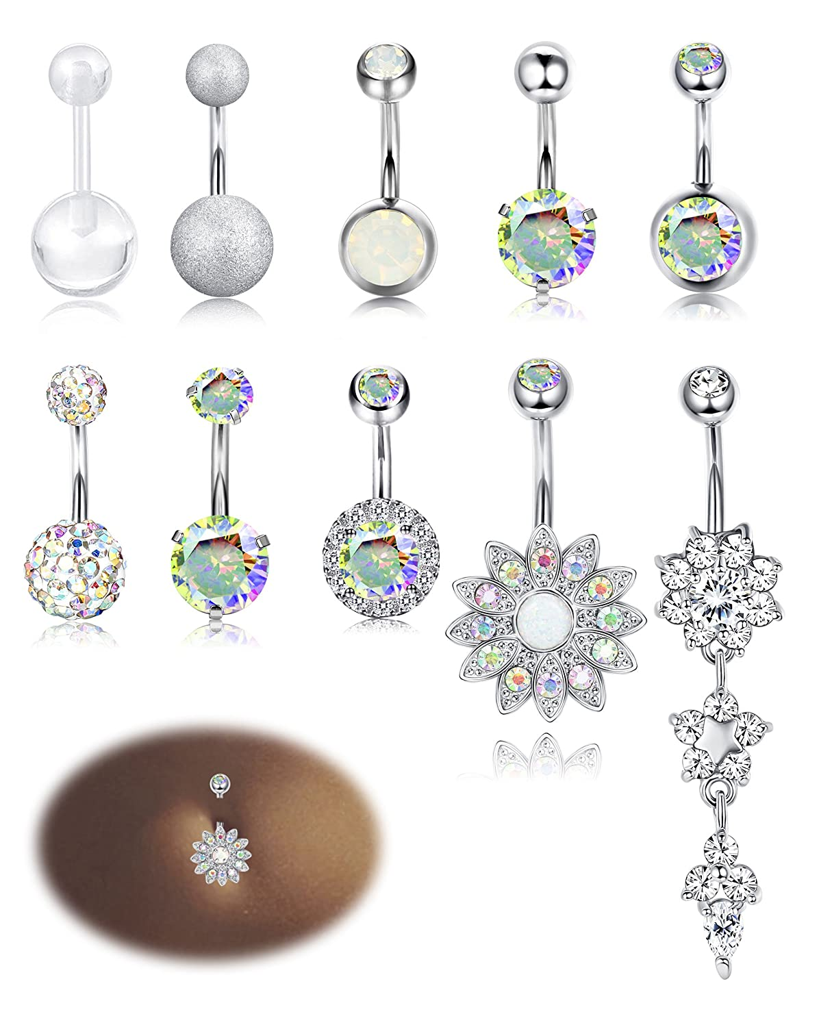 Milacolato 10-12PCS Stainless Steel Belly Button Rings for Womens Girls Navel Rings Barbell Dangle Acrylic CZ Body Piercing Jewelry QT-L-P0002-a