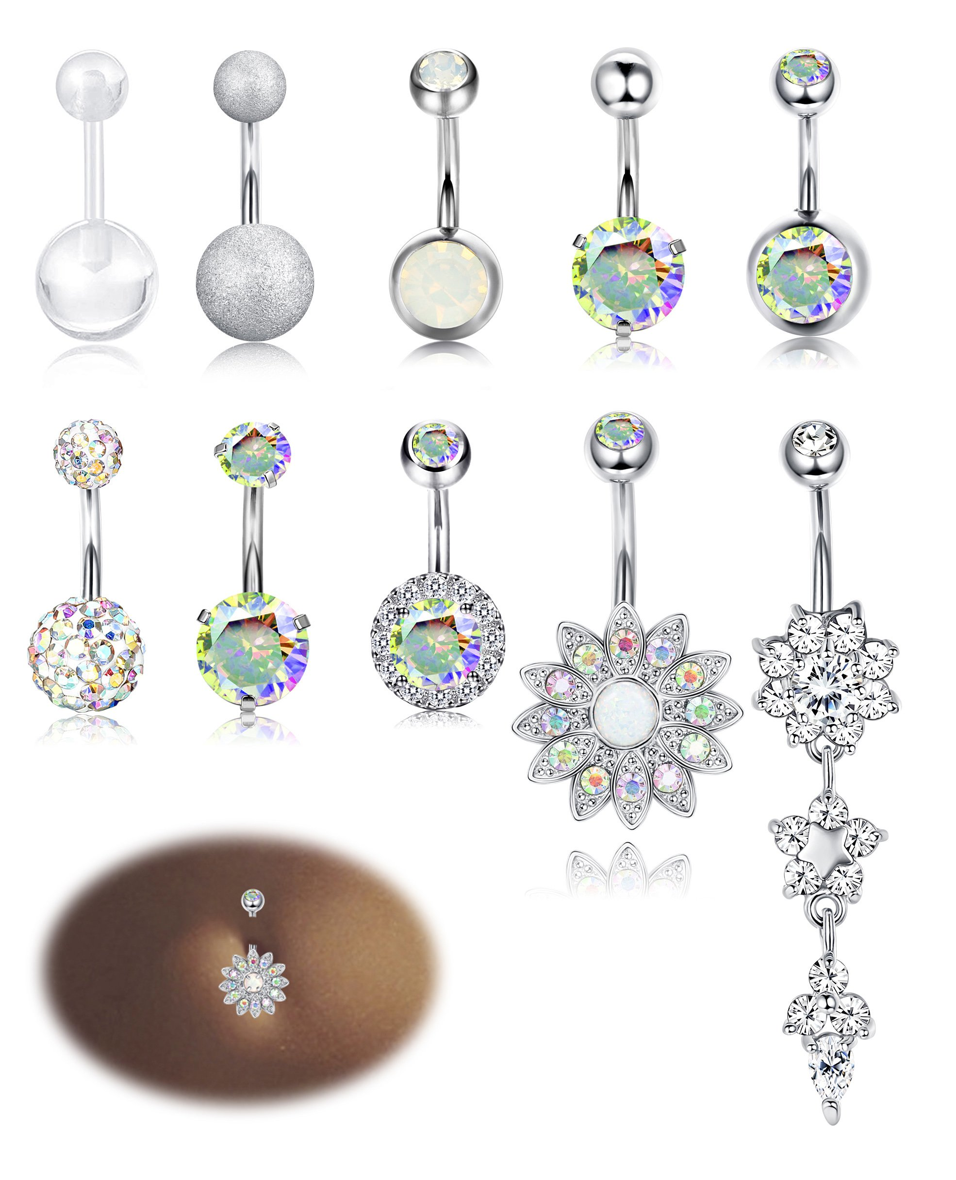 Milacolato 10PCS Stainless Steel Belly Button Rings for Womens Girls Navel Rings Barbell Dangle Acrylic CZ Body Piercing Jewelry AB