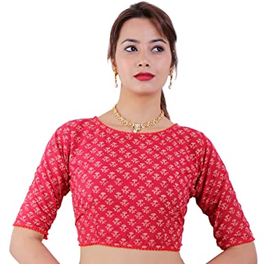 882a64b68b47fd SINGAAR Readymade Blouse For Women-Cotton- Saree Blouse - Summer - Bagru  Print - Printed - RED - Boat Neck - Half Sleeves: Amazon.in: Clothing &  Accessories