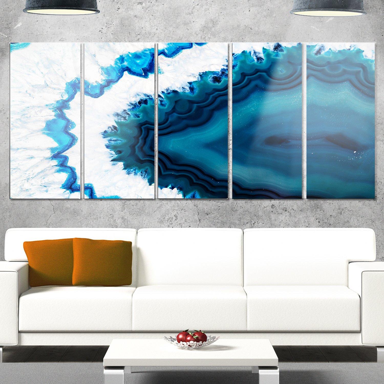 Designart MT14377-401 Blue Brazilian Geode - Abstract Canvas Metal Wall Art,Blue,60x28 by Design Art