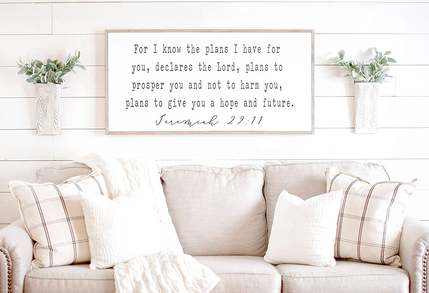 Bible Verse Wall Art for I Know The Plans I Have for You Sign Scripture Decor Jeremiah 29 11 Wood Framed Signs 12x22inch