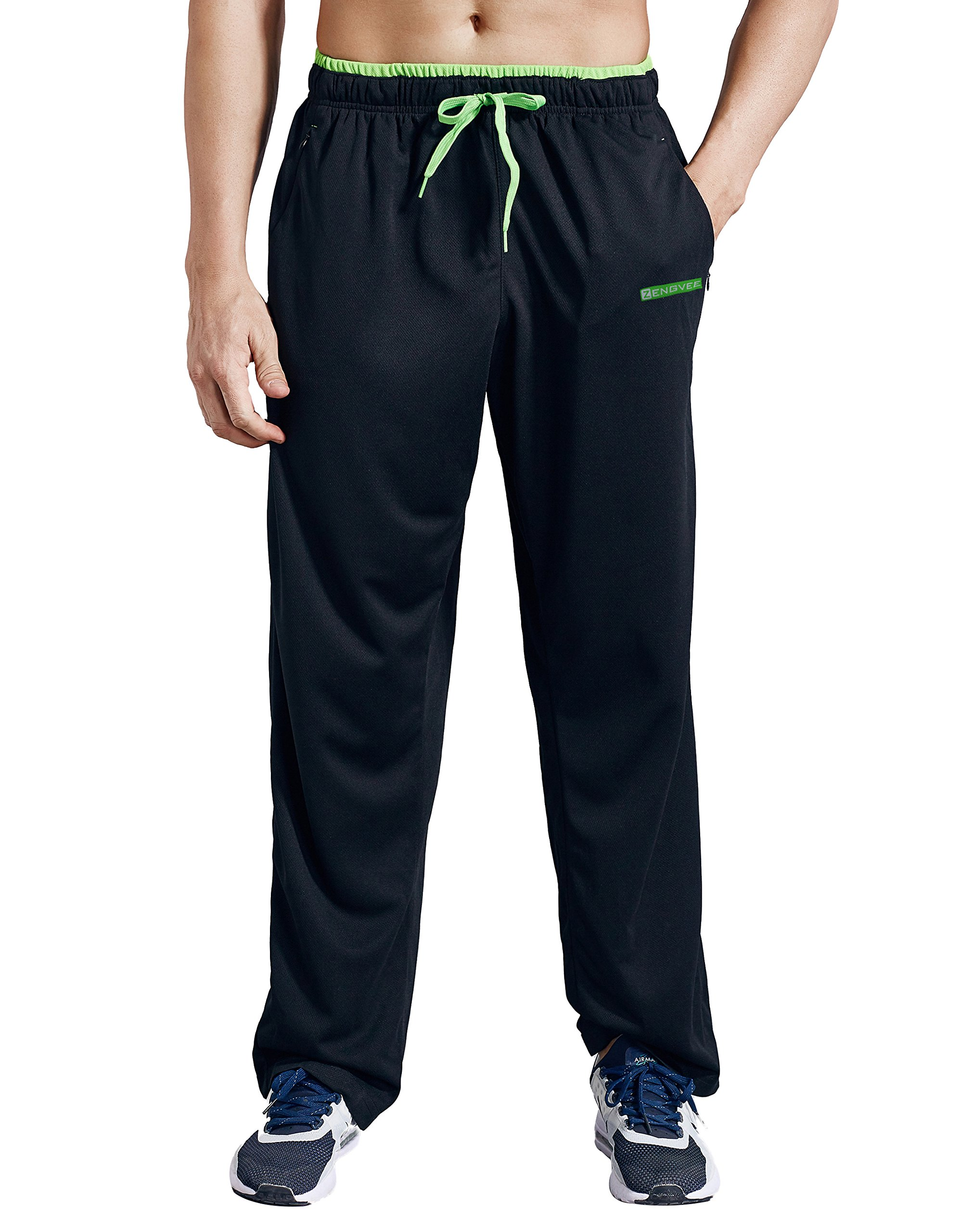 ZENGVEE Athletic Men's Open Bottom Light Weight Jersey Sweatpant with Zipper Pockets for Workout, Gym, Running, Training (Black01,S)