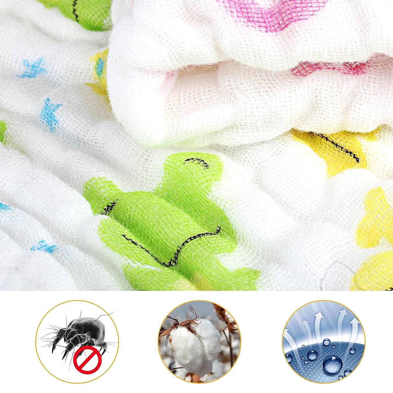 LEMESO 6 x Gasa Bebé Algodón Toallitas de Baño para Bebé Dibujos Animados 30x30cm: Amazon.es: Bebé