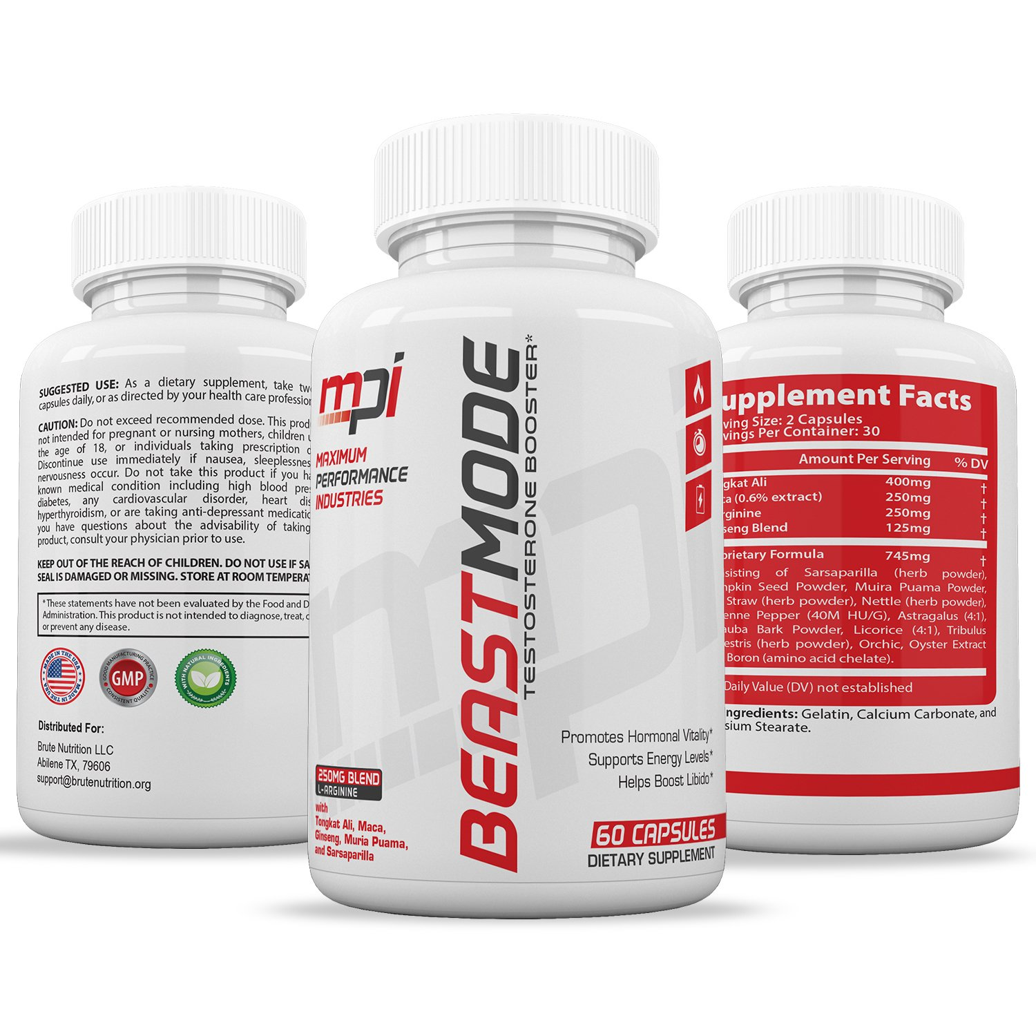 BeastMode Testosterone Booster (60 Caplets) | Natural Endurance, Stamina and Strength Booster | Builds Muscle Fast | Boost Performance and Recovery | Promotes Healthy Weight Loss and Fat Burning