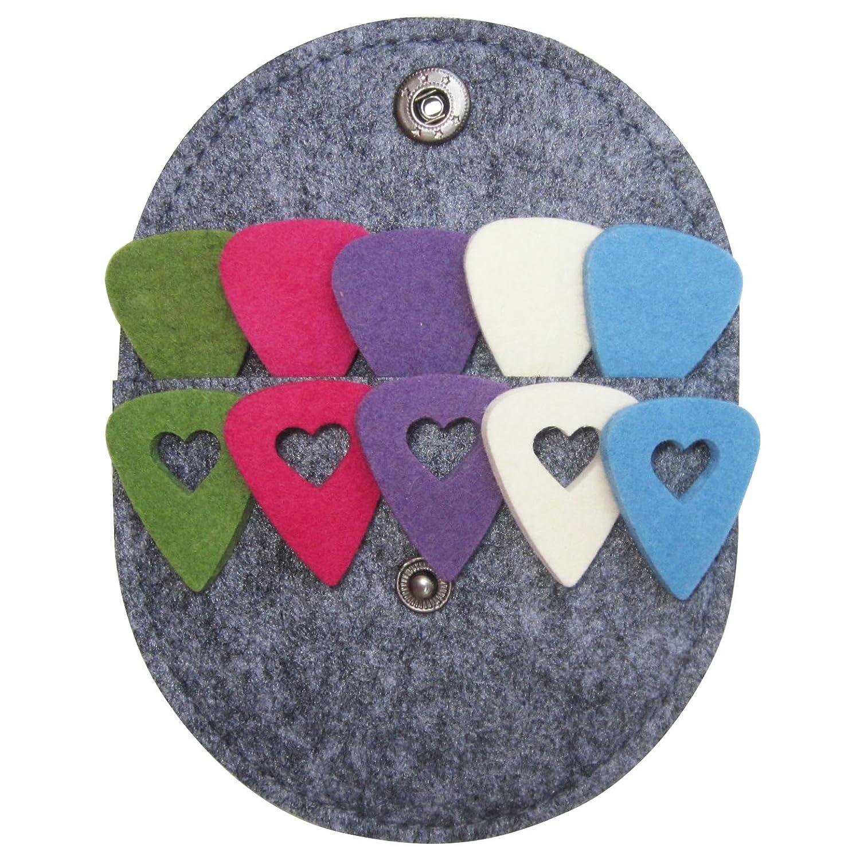 Felt Ukulele Picks,10 Piece Felt Heart Shape Pick for Ukulele Guitar Bass with pick holder case (Original 10 Pcs) Donux 4336350406