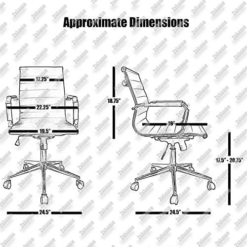 2xhome Brown Ergonomic Executive Chair Mid Back PU Leather Arm Rest Tilt Adjustable Height