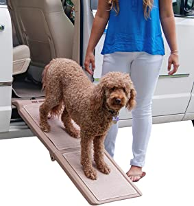 """Pet Gear Travel Lite Bi-Fold Ramp for Cats/Dogs, Lightweight/Portable, Safety Tether Included, Rubber Grippers for Stability, Bi-Fold Half Ramp 42"""" L, Tan"""