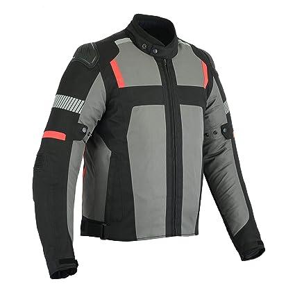 LeatherTeknik Chaqueta impermeable para motocicleta CJ-9415, color gris