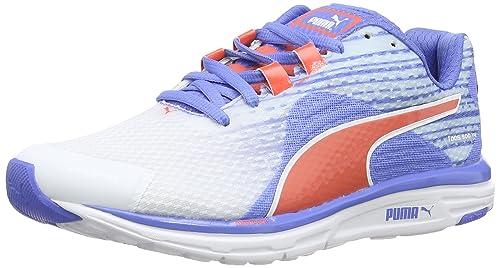 9a5f3284520d Puma Women s Faas 500 v4 Wn White-Marine- Blue- Coral Mesh Running Shoes