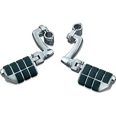 """Kuryakyn 7980 Motorcycle Foot Controls: Longhorn Offset Dually Highway Pegs with Magnum Quick Clamps for 1"""" Engine Guards/Tubing, Chrome, 1 Pair: Automotive"""