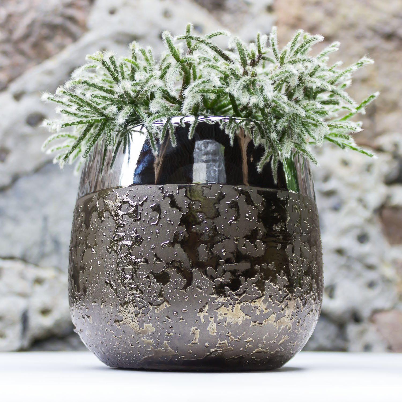 Pot de fleur 14 cm en ceramique Moon rayure dor/é blanc