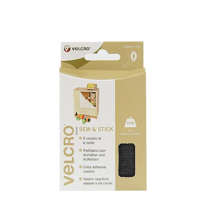 20mm X 1m VELCRO ® Velcro Sew /& Stick Hook /& Loop Cinta Blanco o Negro