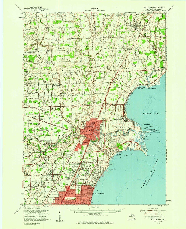 Amazon Com Yellowmaps Mt Clemens Mi Topo Map 1 62500 Scale 15 X