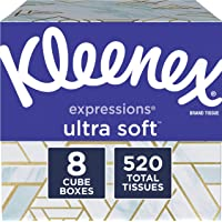Kleenex Expressions ultra soft facial tissues, 8 cube boxes, 65 tissues per box (520 tissues total), 520 Count