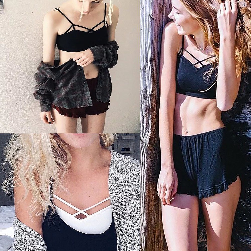 CoCo Fashion Women's V-neck Camisole Vest Strappy Tank Tops Bustier Crop Top