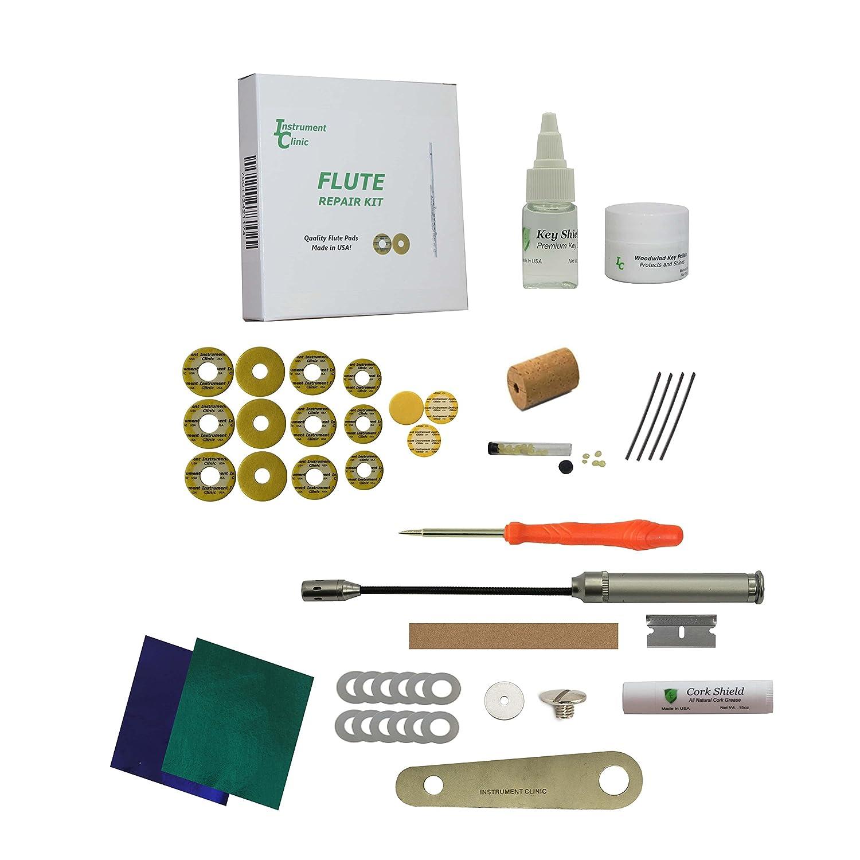 Premium Instrument Clinic Flute Pad Kit, with Head Cork, Leak Light, Pad Iron, Fits Gemeinhardt Closed Hole Flutes Ins-1205