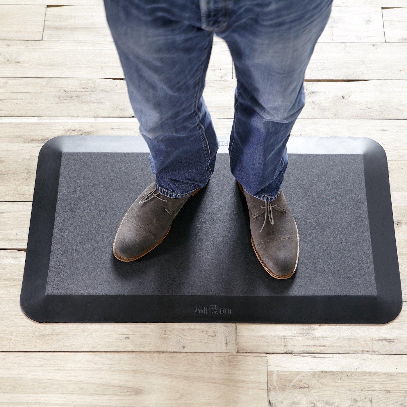 BFMOM cushioned kitchen floor mats Amazon com VARIDESK 5 8 Non Slip Anti Fatigue Comfort Mat 20 x34 for Kitchens or Standing Desk Home Improvement