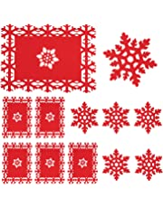 Whaline 12 Pack Christmas Table Place Mats and Coaster, Red Snowflake Design Set for Christmas Party Winter Holiday Wedding Dinner Decoration