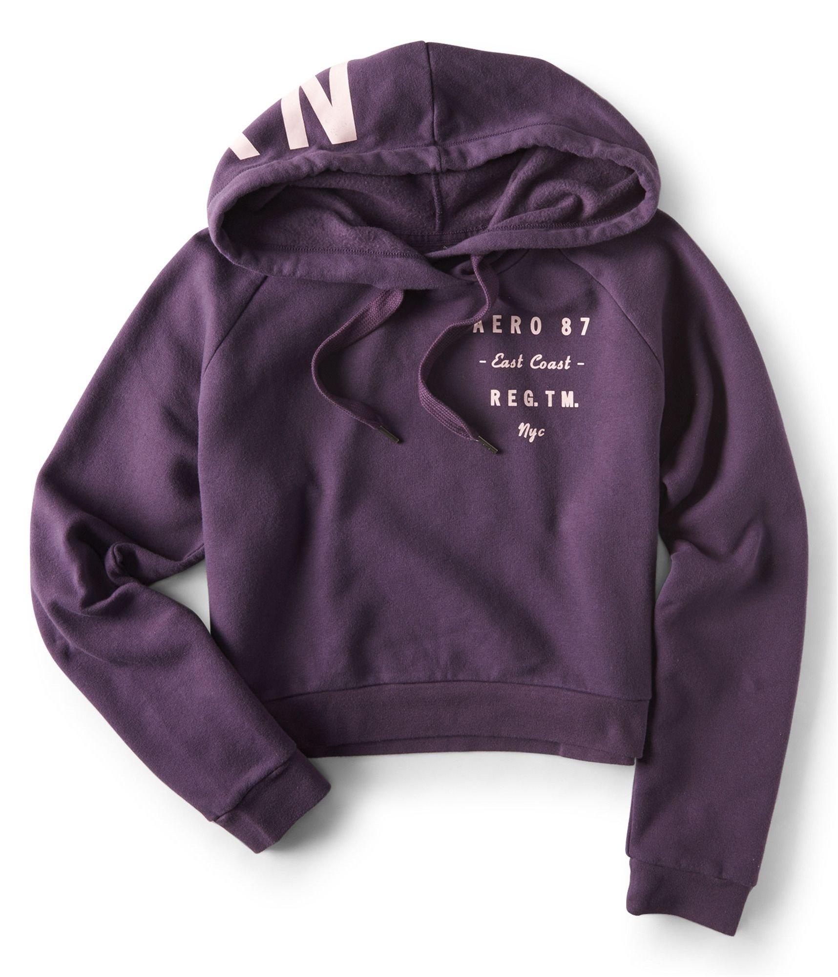 Aeropostale Womens Stacked Text Hoodie Sweatshirt Purple M - Juniors