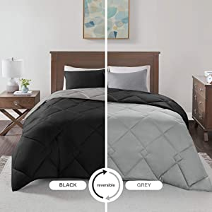Comfort Spaces Vixie 3 Piece Comforter Set All Season Reversible Goose Down Alternative Stitched Geometrical Pattern Bedding, Full/Queen, Black/Grey
