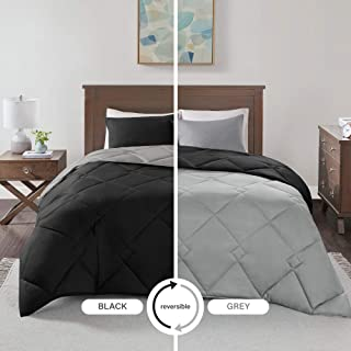 Comfort Spaces Vixie 2 Piece Comforter Set All Season Reversible Goose Down Alternative Stitched Geometrical Pattern Bedding, Twin/Twin XL, Black/Grey
