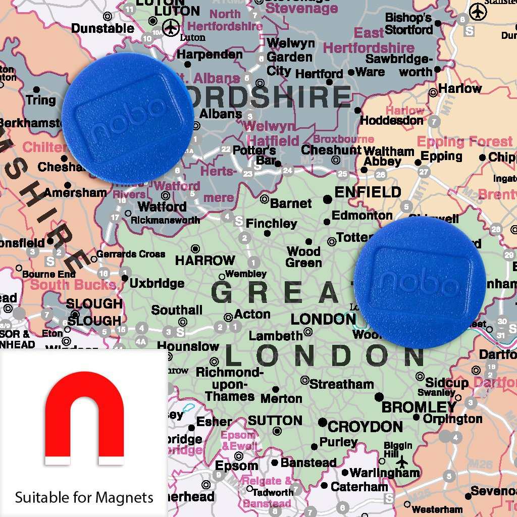 Counties UK Wall Map Laminated With Aluminium Frame