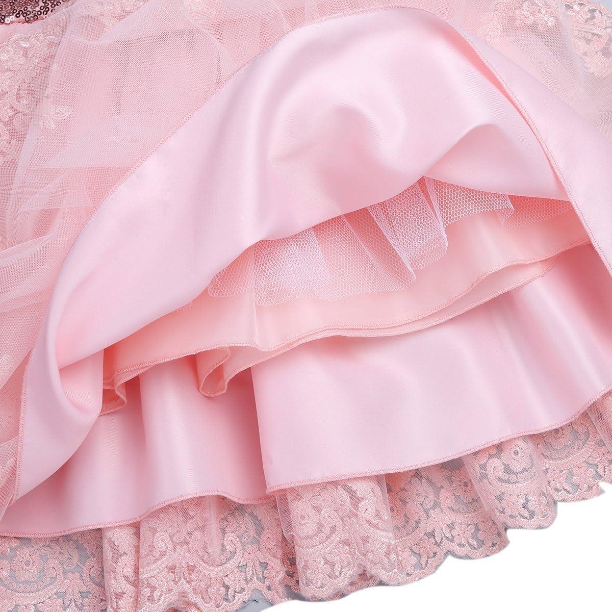 dPois Baby M/ädchen Prinzessin Kleid Blumenm/ädchen Kleid Taufkleid Kinder Pompon Kleid Festlich Hochzeit Kleid Kleinkind Sequins Kleidung Partykleid Gr.62-92