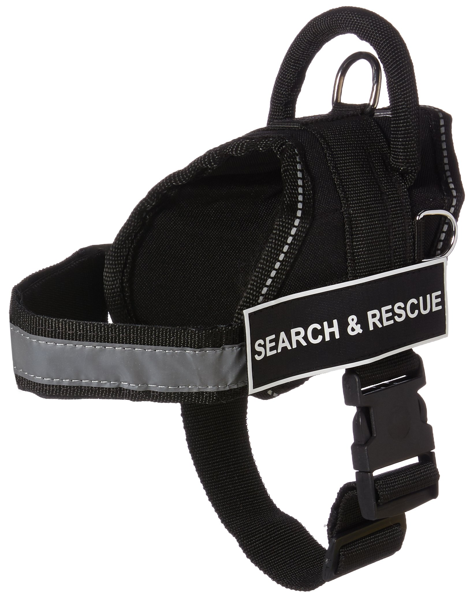 Dean and Tyler Bundle - One ''DT Works'' Harness, Search and Rescue, XSmall (21'' - 26'') + One ''Padded Puppy'' Leash, 6 FT Stainless Steel Snap - Black