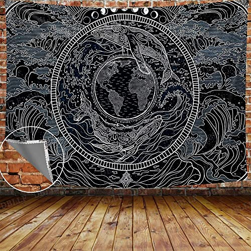 DBLLF Psychedelic World Map Tapestry Large 80 x 60 Earth Cotton Art Tapestries Moon Phase Tapestry Clouds Tapestry Ocean Wave Tapestry, for Living Room Bedroom Dorm Home Decor GTYYDB544
