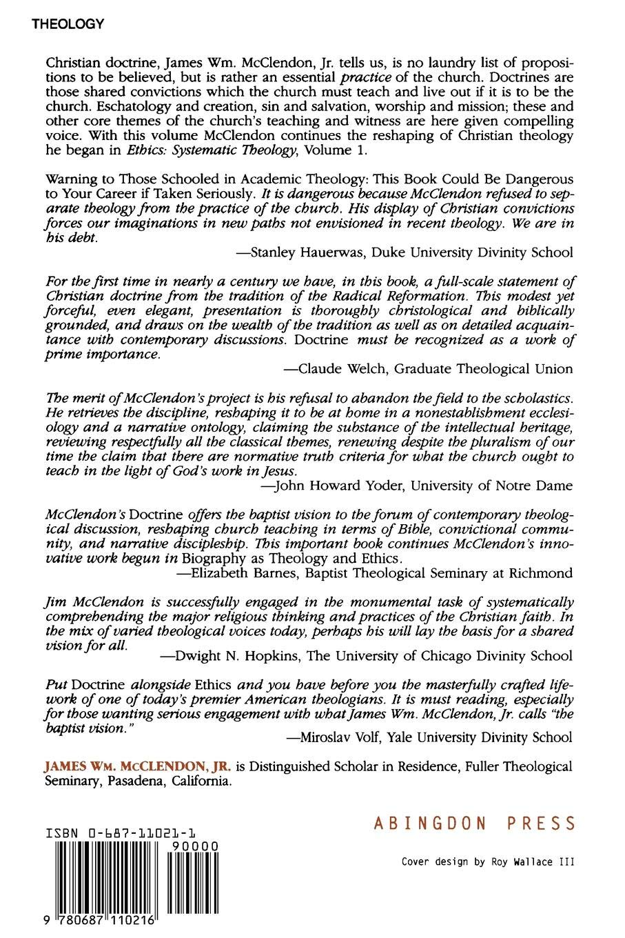 systematic theology vol 2 doctrine james william mcclendon jr