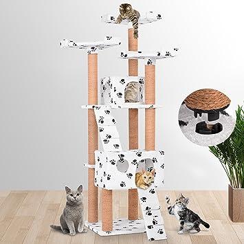 Leopet - Árbol rascador para gatos con cuevas, escaleras y plataformas - color blanco con pisadas: Amazon.es: Hogar