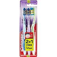 Colgate Toothbrush Medium, 2 Plus 1 Assorted Colors