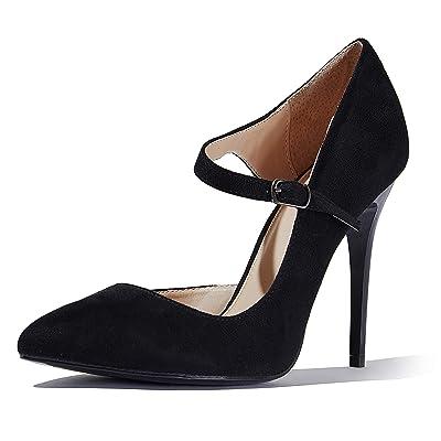 DailyShoes Women's Classic D'Orsay Slip On Strap Stiletto Pointed Toe Paris-03 High Heel Dress Pump Shoes | Pumps