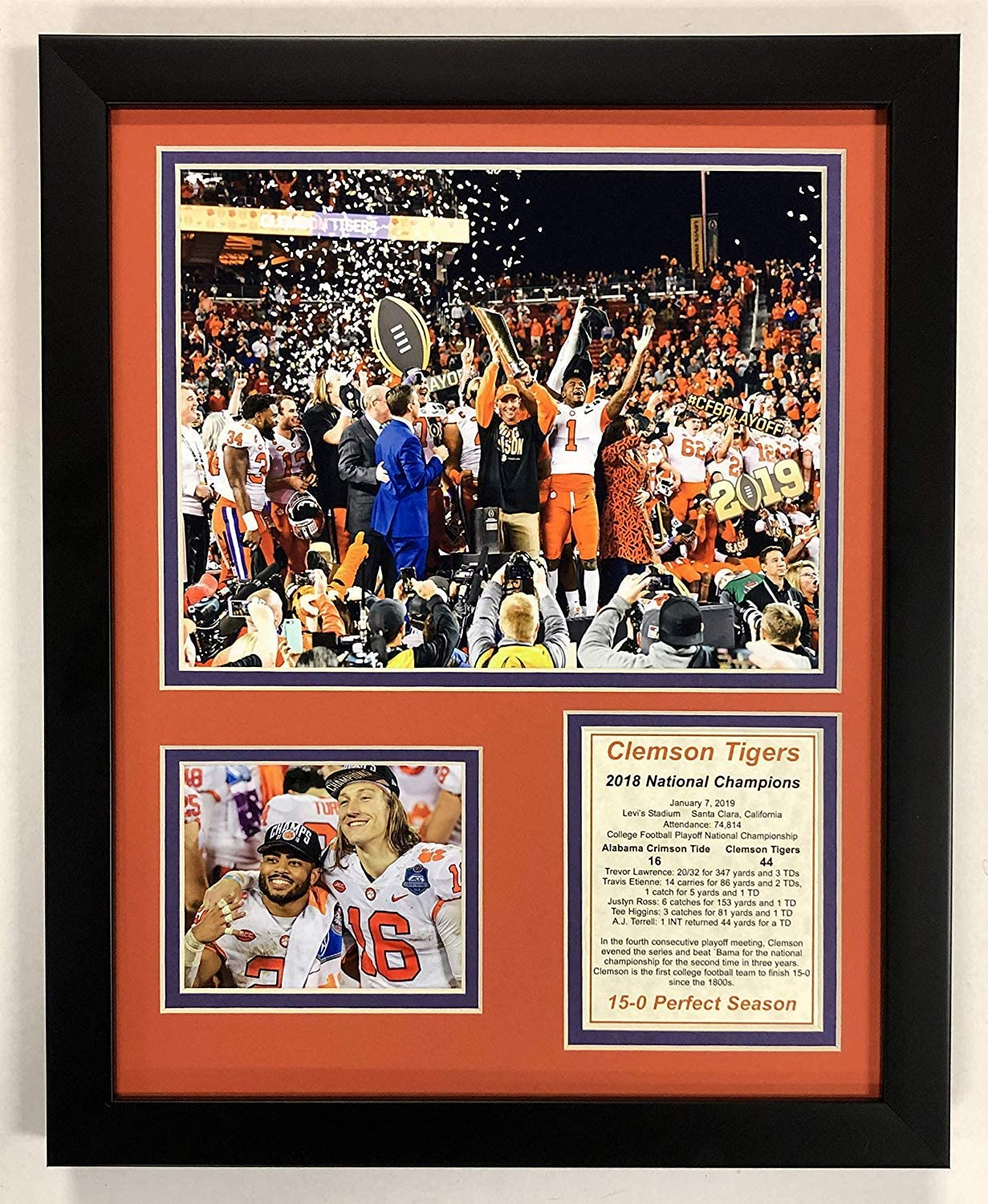 Trevor Lawrence Framed 11 x 14 Matted Collage Framed Photos Ready to Hang /… National Champions CFA 2018 Clemson Tigers