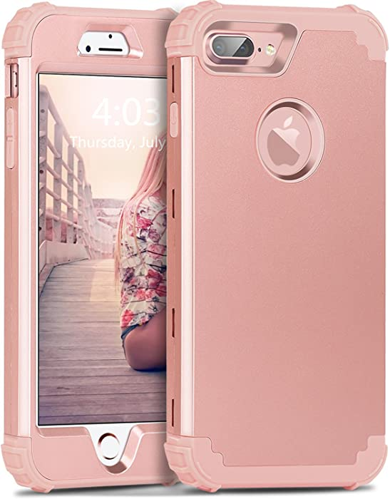 iPhone 8 Plus Case,iPhone 7 Plus Case,BENTOBEN 3 in 1 Hybrid Hard PC Soft Rubber Heavy Duty Rugged Bumper Shockproof Anti Slip Full-Body Protective Phone Case for Apple iPhone 8 Plus/7 Plus,Rose Gold