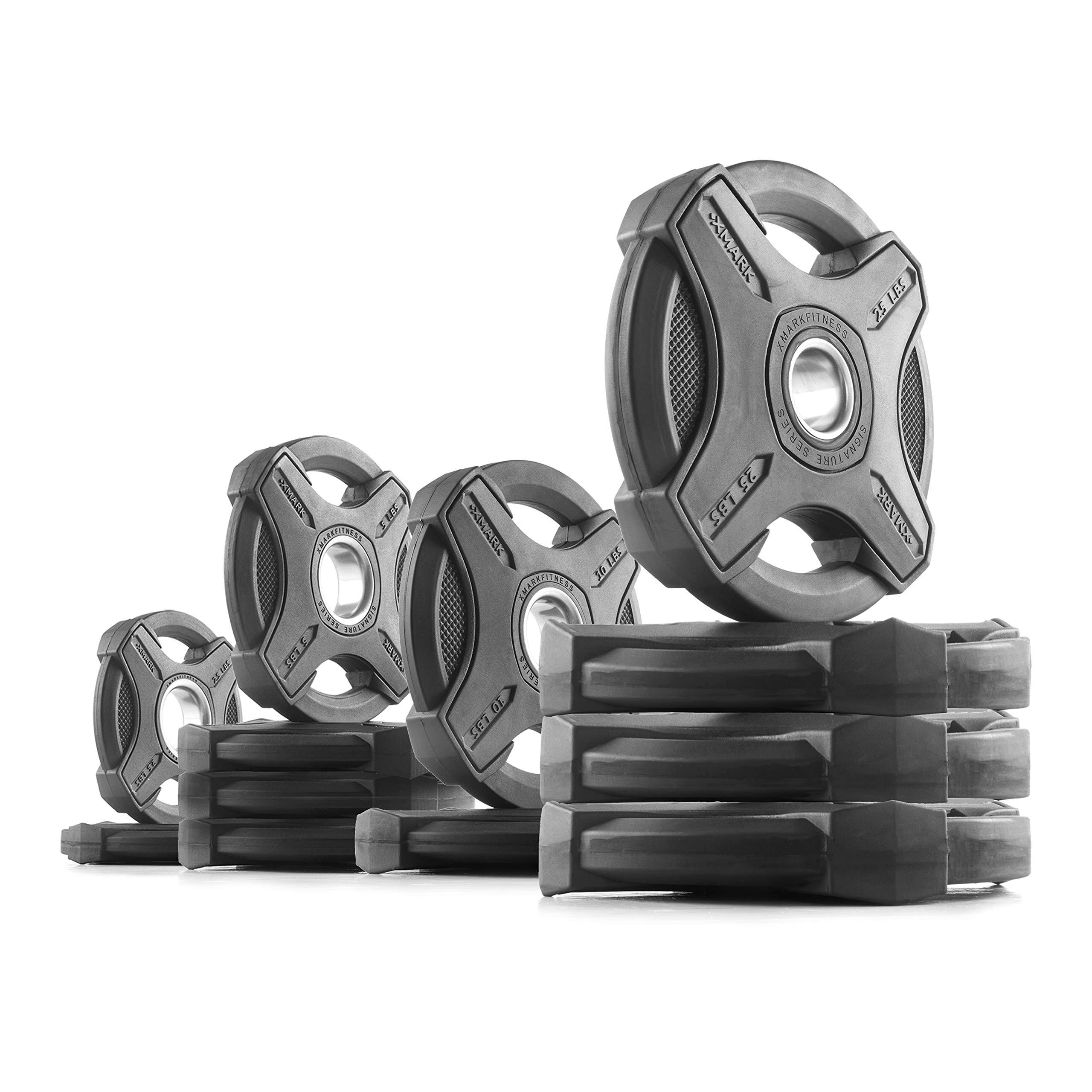XMark 145 lb Set Signature Plates, One-Year Warranty, Olympic Weight Plates, Cutting-Edge Design