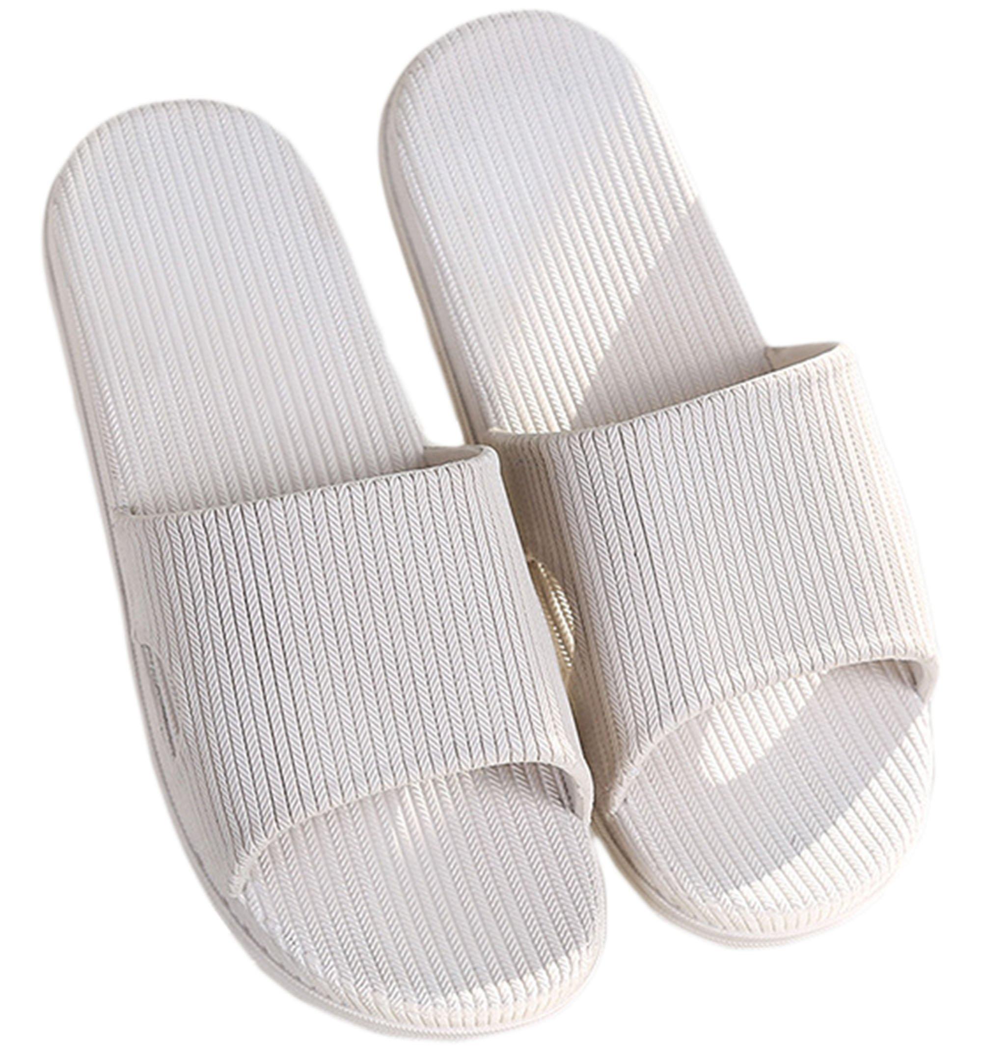 Knolee Unisex Rubber Sole Simple Indoor Shoes Bath Slip-Resistant Slippers,White7-7.5 D(M) US