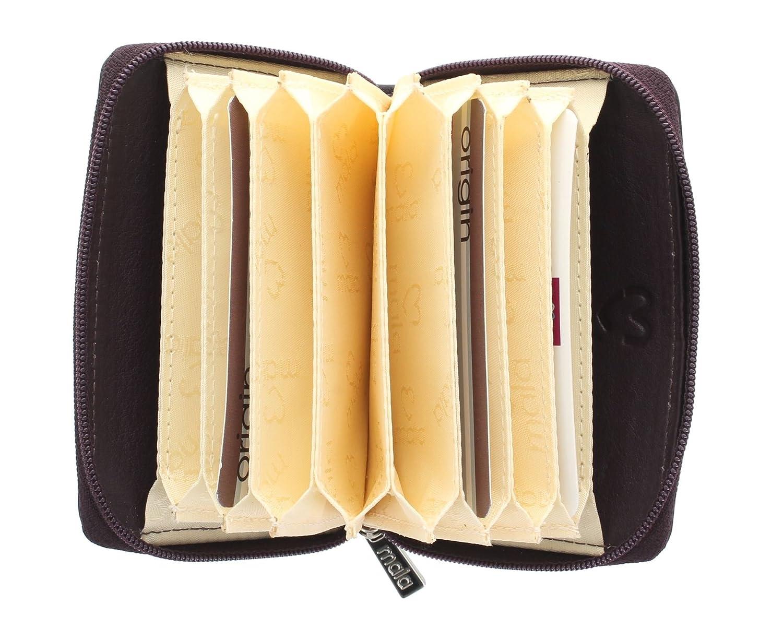 Porta carte di credito a soffietto in pelle con protezione RFID 552/_5D Marrone Mala Leather Collezione ORIGIN