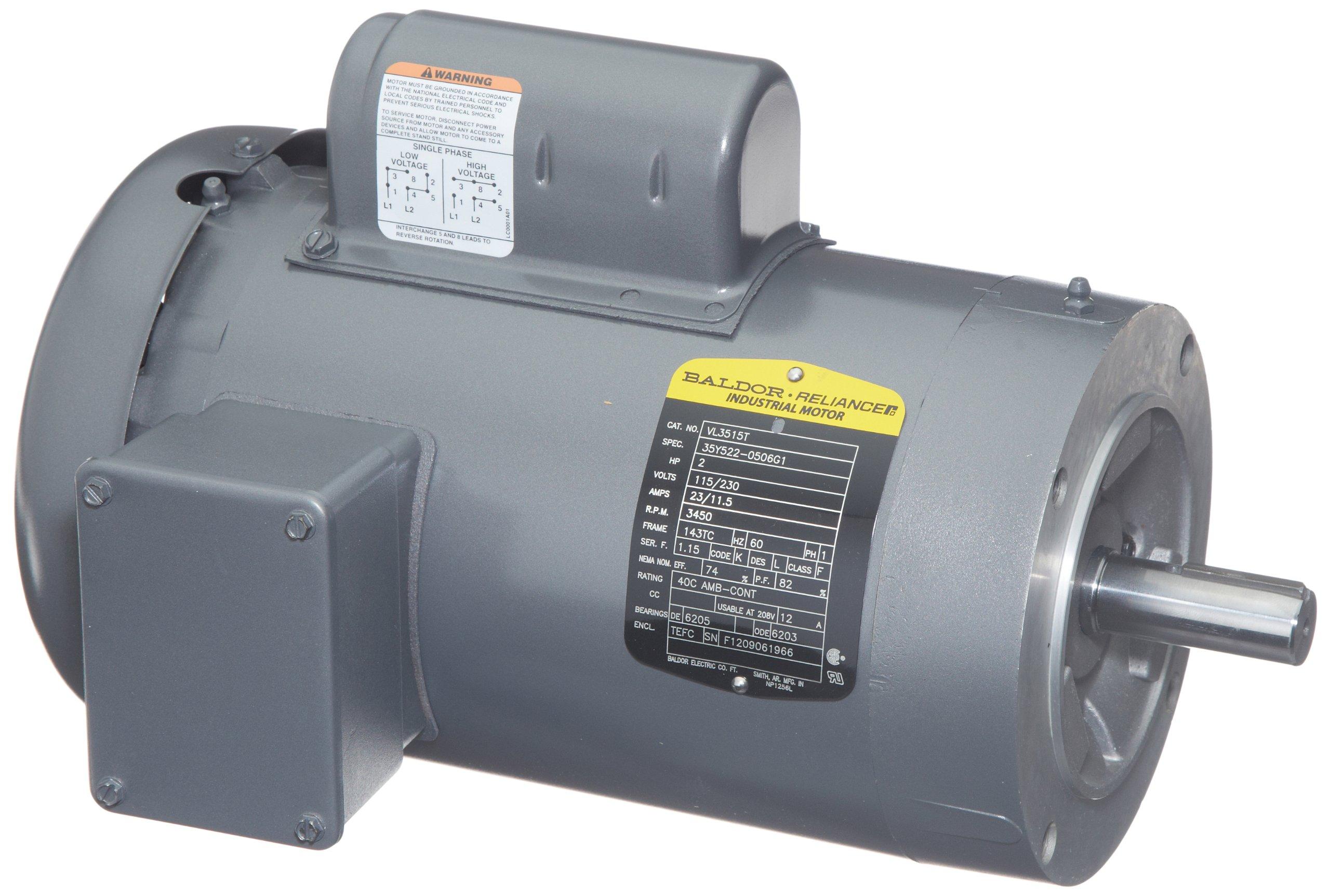 Baldor VL3515T General Purpose AC Motor, Single Phase, 143TC Frame, TEFC Enclosure, 2Hp Output, 3450rpm, 60Hz, 115/230V Voltage
