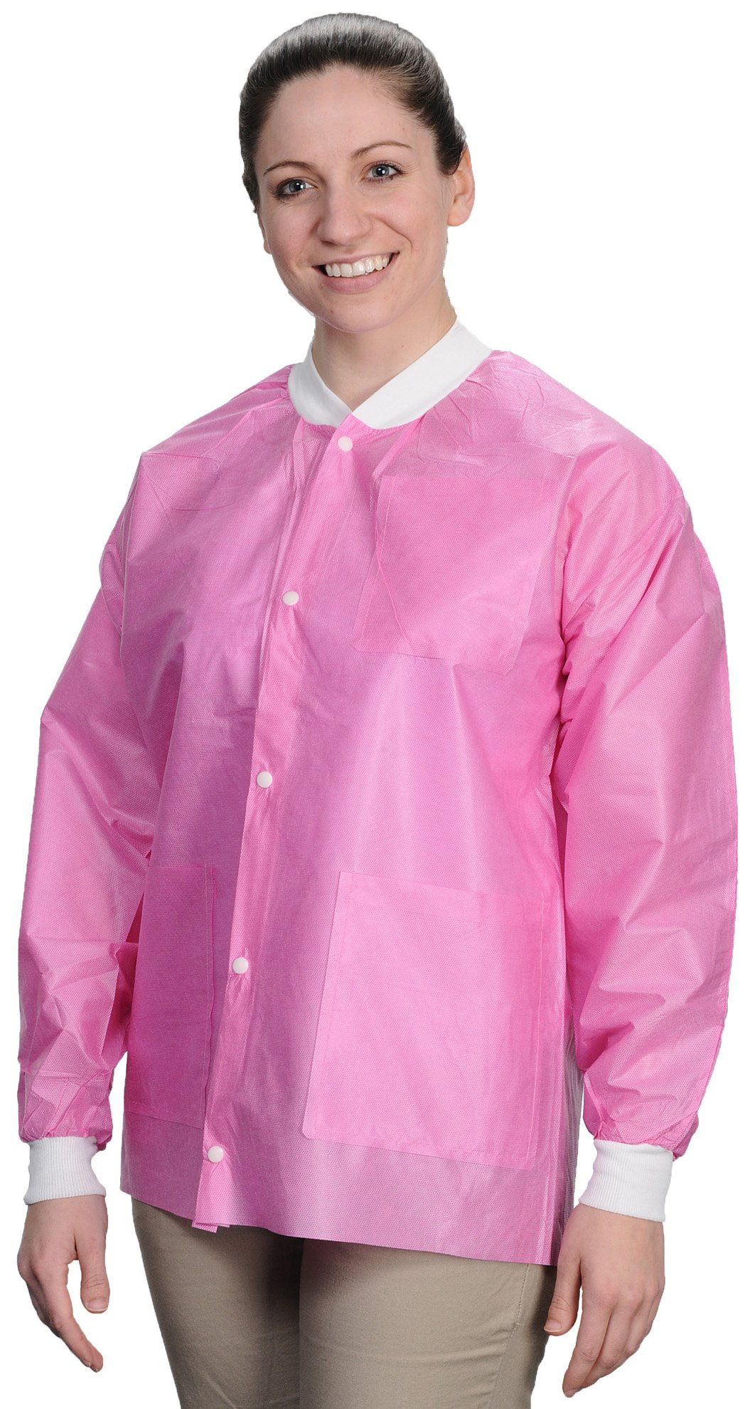 ValuMax 3530RBS Easy Breathe Cool and Strong, No-Wrinkle, Professional Disposable SMS Hip Length Jacket, Raspberry, S, Pack of 10